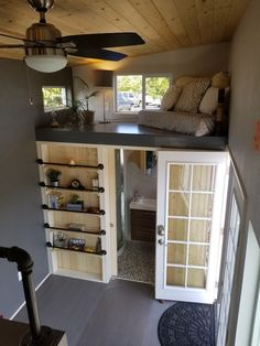 Settling in a tiny house is more than just a trend it's a lifestyle choice that people all over the country are happily taking up. Creating a tiny house interior design… Continue Reading → Tiny House Plans, Tiny House On Wheels, Tiny House Storage, Tiny House Living, Living Room, Two Bedroom Tiny House, Bedroom Small, Tiny House Design, Dream Rooms