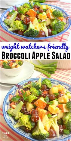 This Weight Watchers Friendly Broccoli Salad makes a tasty low point lunch. At j… This Weight Watchers Friendly Broccoli Salad makes a tasty low point lunch. At just 2 points per serving, this will leave you feeling satisfied while staying on program. Bean Salad Recipes, Broccoli Recipes, Healthy Salad Recipes, Diet Recipes, Healthy Snacks, Healthy Eating, Broccoli Salads, Bean Salads, Easy Recipes