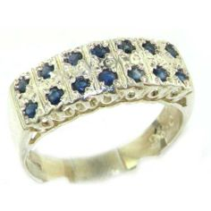 Solid English Sterling Silver Natural Sapphire Victorian Style Wide Eternity Band Ring - Finger Sizes 5 to 12 Available LetsBuySilver. $134.00