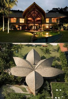 """Amazing """"Leaf House"""" in Brazil Looks Like a Tropical Paradise Bamboo Architecture, Tropical Architecture, Modern Architecture House, Amazing Architecture, Landscape And Urbanism, Landscape Architecture Design, Bamboo House Design, Architecture Concept Drawings, Unusual Homes"""