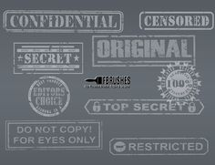 A nice set of stamped text, using common phrases, these can be used to watermark your creations or use when designing a top secret themed project. There are round and straight brushes in the pack. Common Phrases, Photoshop, Personalized Items, The Originals, Brushes, Grunge, Stamp, Stamps, Blush