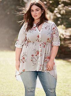 Plus Size Floral Print Chiffon Button Tunic - Plus Size Fashion for Women