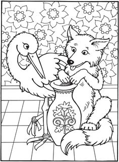 Kids Coloring Books Elegant Best Loved Aesop S Fables the Fox and the Stork Coloring Fox Coloring Page, Cool Coloring Pages, Animal Coloring Pages, Adult Coloring Pages, Coloring Pages For Kids, Coloring Books, Kids Coloring, Picture Story Writing, Line Art Vector