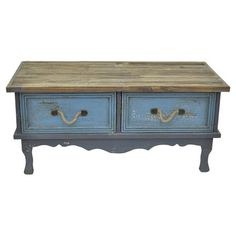 $256 Featuring a scalloped apron and charming rope handles, this distressed wood cabinet brings country-chic style to your home library or master suite.