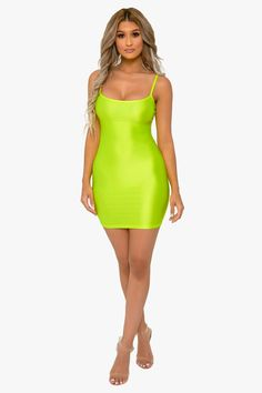This color though! Bodycon dress featuring a stretchy fabric. Scoop neck Spaghetti straps Bodycon Mini length polyester, spandex Model wear size s about our model amanda's measurements are: height bust waist hips Sexy Outfits, Trendy Outfits, Cute Outfits, Pink Bodycon Dresses, Sexy Dresses, Green Outfits For Women, Cute Short Dresses, Club Party Dresses, Curvy Models