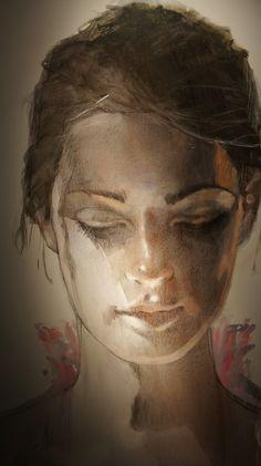 Christine Comyn: (Belgium) watercolor. So beautiful.  Someday, I would like a beautiful watercolor of myself.