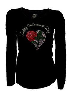 Happy Valentine's Day & Rose Heart Bling Rhinestones T-Sh...