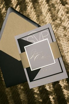 JESSICA Suite Romantic Package, black and gold, black tie wedding invitations, elegant invitations, gold foil, foil wedding invitations