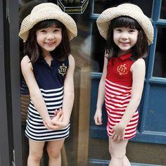 Resultado de imagen para vestidos de rayas para niña 2016