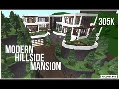 This is a speed build of a modern hillside mansion in the Roblox game Welcome to Bloxburg. I got my inspiration for this build from gamingwithYVT a. Two Story House Design, Unique House Design, Design Your Dream House, Beautiful House Plans, Dream House Plans, Home Building Design, Building A House, Modern Family House, House Plans With Pictures