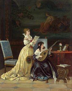 "Painting by Casimir Van Den Daele ""Two Women Making Music"" Music Painting, Figure Painting, Sculpture, Contemporary Paintings, Female Art, Art History, Illustrations, Fine Art, Artwork"