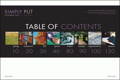 Table of Contents idea for Yearbook or even Spread layout art Teaching Yearbook, Yearbook Staff, Yearbook Pages, Yearbook Spreads, Yearbook Covers, Yearbook Layouts, Yearbook Design, High School Yearbook, Yearbook Ideas