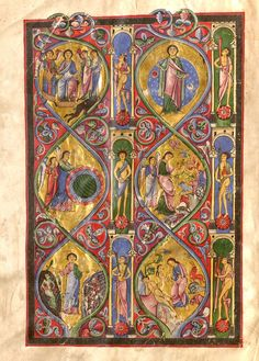 """The so-called Gumbertus Bible. The late 12th-century manuscript stands almost 70cm tall and contains 394 parchment leaves. The """"Giant Bible"""" (an official term in book culture) contains beautiful, delicate even, illumination, as this image shows. Erlangen, Universitätsbibliothek, MS 1 (12th century)."""