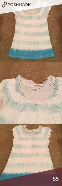 Loft ruffled tee in sea green and blue Beach 🌊 colors and loose feel! This is so cute. I don't wear anymore. The shirt is in good condition. Pictured are a few small imperfections of pen marks--3 on back, one on right sleeve.  Unnoticeable from a foot away. LOFT Tops Tees - Short Sleeve