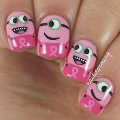 Breast cancer awareness  nails. So cute.