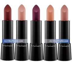 MAC Haute Dogs Collection Fall 2015 - Mineralize Rich Lipstick •Fashion Pack pale pink nude •Rare Breed mid-tone pinky nude •Barking Gorgeous light peach •Nose For Style deep claret red •Labradorable deep wine