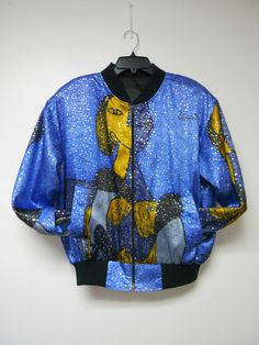 Picasso . 1980s blue poly light jacket  .  fits like a by june22