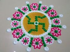 Easy and beautiful rangoli with border of multicolored roses | I Rangoli designs by Poonam Borkar - YouTube