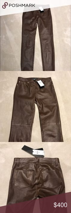 LAST CHANCE ⭐️ Ralph Lauren brown leather pants Ralph Lauren black label size 2 brown leather pants.  100% lamb leather, super soft and comfortable.  In my opinion, true to size, I am typically a size 0 or 24 and this fits but there is some extra room, and leather will stretch.  Looks great with boots, will upload pictures with it on later if requested ☺️ Ralph Lauren Black Label Pants Skinny