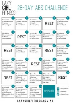Lazy Girl Fitness 28-Day Abs Challenge - download & watch videos on website