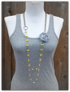Yellow and Grey Rosette Long Beaded Necklace. Adorable.  I'm gonna make this!