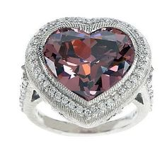 Judith Ripka Sterling 9.0ct Pink Diamonique Faceted Heart Cocktail Ring