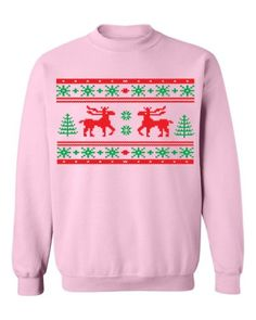 e76ad5c270d2 Festive Threads Ugly Christmas Sweater Design (Moose Design) Adult  Sweatshirt (Pink