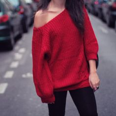 Red Off-The-Shoulder Sweater