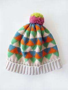 Cream Multi Triangle Hat #AnnieLarson #accessory #hat #crochet #colors