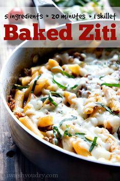 One Skillet Baked Ziti Cheesy Recipes, Pasta Recipes, Beef Recipes, Italian Recipes, Dinner Recipes, Cooking Recipes, Healthy Recipes, Dinner Ideas, Ziti Al Horno
