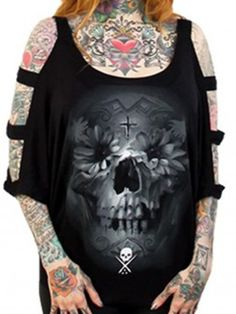 "SA ""Flower Skull"" Top by Sullen Clothing (Black)"