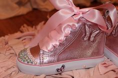 These would be super cute for the flower girls! Cute Outfits For Kids, Toddler Outfits, Cute Kids, Baby Kids, Adorable Babies, Baby Bling, Pink Bling, Pink High Tops, Super Cute