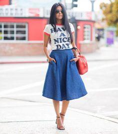 Midi-Jeans-Skirt-Street-Style-T-Shirt