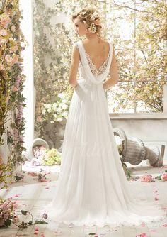 Forme Princesse Col V alayage/Pinceau train Mousseline Robe de mariée avec Dentelle Emperler Sequins (00205003152) - Vbridal