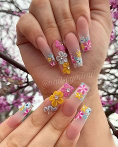 Theyre amazing.Thanks to the designers.We collected 70 trendy coffin nail art design ideas for youif you are looking for nail idea in this Spring. Nail Art Designs, Cute Acrylic Nail Designs, Nails Design, Summer Acrylic Nails, Best Acrylic Nails, Stylish Nails, Trendy Nails, 3d Flower Nails, Nails With Flower Design