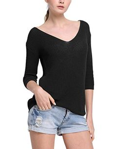 Roco Rose Womens 34 Sleeve Tops Solid Slim Black V Neck Blouse Black S ** Want additional info? Click on the image.
