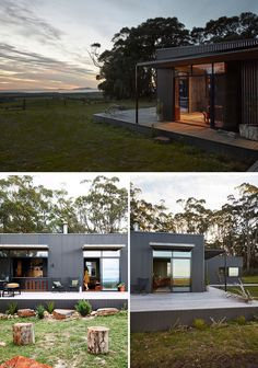 This modern Australian house features partially a covered porch, that's covered in Woodland Grey Colorbond cladding, timber, and natural materials and colors throughout the project. Australian Architecture, Modern Architecture House, Australian Homes, Bungalow Interiors, Bungalow House Design, Exterior Gris, Exterior Paint, Small Sitting Areas, Steel Siding