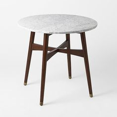 mid century modern + marble top small dining table - perfect for a little breakfast nook!