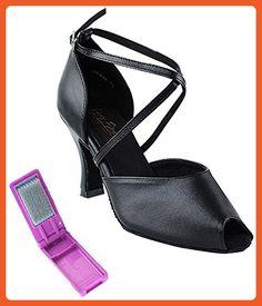 Very Fine Ballroom Latin Tango Salsa Dance Shoes for Women 6033 3 Inch Heel + Foldable Brush Bundle - Black - 6 - Athletic shoes for women (*Amazon Partner-Link)