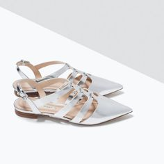 Image 5 of SHINY STRAPS FLAT SHOES from Zara