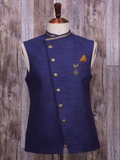 Shop Plain navy silk waistcoat online from India. Indian Men Fashion, Best Mens Fashion, Men's Waistcoat, Modi Jacket, Gents Kurta, Mens Ethnic Wear, Kurta Men, Indian Groom Wear, Clothes