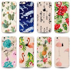 New-Flamingo-Design-Floral-Soft-TPU-Ultra-thin-Clear-Case-For-iPhone-6-S-6Plus