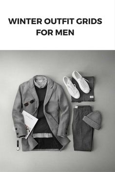 11 Coolest Winter Outfit Grids For Men - Winter Outfits Mens Fashion Blog, Fashion Kids, Look Fashion, Man Fashion, Fashion Photo, Fashion Outfits, Stylish Mens Outfits, Casual Winter Outfits, Men Casual