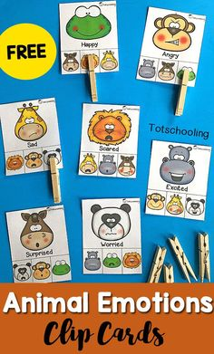FREE printable Emotions activity with an animal theme! Great for toddlers and preschoolers to learn about feelings, animals and build fine motor skills by clipping the cards with clothespins.