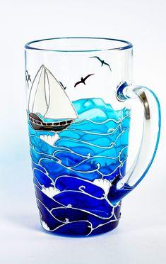 Nautical Gift Ocean themed coffee mug Coastal unique mugs Turquoise Blue coffee cup Beach mug Painting Glass Jars, Glass Painting Designs, Bottle Painting, Bottle Art, Bottle Crafts, Paint Designs, Glass Art, Glass Painting Patterns, Blue Coffee Cups