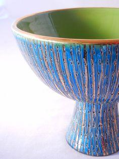 https://flic.kr/p/mQmpia | Aldo Londi for Bitossi, Italian Art Pottery Bowl, Rimini Blue Sgraffito