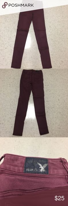 Maroon American Eagle jeans. These jeans are the most comfortable pants ever! I absolutely love them, and get so sad when I realized they were just too small. They are an amazing color, soft, comfortable for all day and night, and high-rise.  These have been my favorite pants, I hope they can be your next favorite! They are fairly worn but in great condition! I am 5' 10, for reference for the picture. American Eagle Outfitters Jeans Skinny