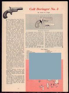 1961 COLT Deringer Derringer No. 3 Exploded View Parts List Assembly Article #Colt