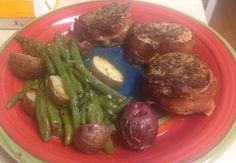 Pork wrapped bacon Parmesan stringbeans and potatoes