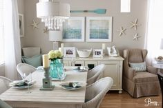 Beach Chic Casual Coastal Cottage Dining Room by Breezy Design at foxhollowcottage.com